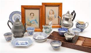 GROUP OF ITEMS INCLUDING PEWTER AND STAFFORDSHIRE.