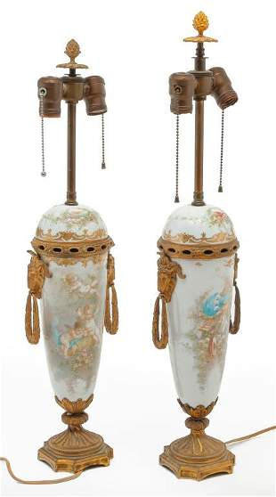 PAIR OF FRENCH PORCELAIN URN LAMPS.