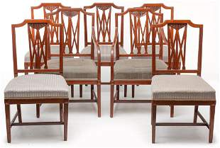 SEVEN AMERICAN HEPPLEWHITE STYLE CHAIRS.