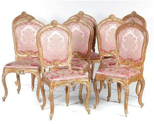 SET OF EIGHT LOUIS XV STYLE DINING CHAIRS.