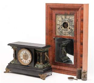 TWO MANTEL CLOCKS.