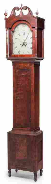 AMERICAN COUNTRY SHERATON TALL CASE CLOCK.