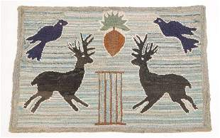 AMERICAN STAG HOOKED RUG.