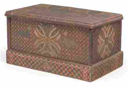 PAINT DECORATED TRUNK ATTRIBUTED TO CHECKERBOARD ARTIST