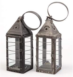 TWO AMERICAN TIN LANTERNS.
