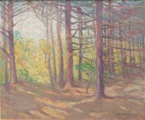 WOODED LANDSCAPE BY NELLIE AUGUSTA KNOPF.
