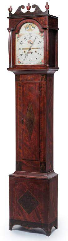 WHITING DECORATED FEDERAL TALL CASE CLOCK.