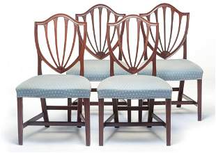 TWO PAIR OF FEDERAL SHIELD BACK SIDE CHAIRS.