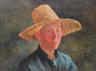 PORTRAIT OF AMISH BOY IN STRAW HAT.
