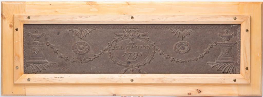 "AMERICAN CAST IRON PLAQUE ""ISAAC POTTS 1795""."