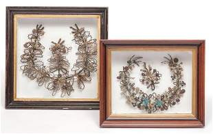 TWO VICTORIAN MOURNING WREATHES.