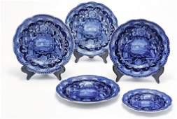 FIVE HISTORICAL BLUE STAFFORDSHIRE PLATES.