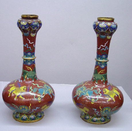 4: THREE PIECE CLOISONNE CONSOLE SET. Pair of