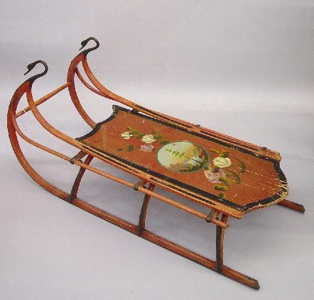 6: DECORATED CHILD'S SLED. Original red with