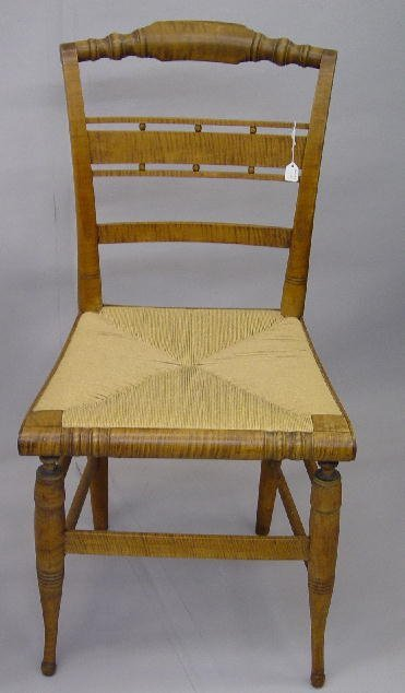 19: SHERATON CURLY MAPLE SIDE CHAIR. Old refi