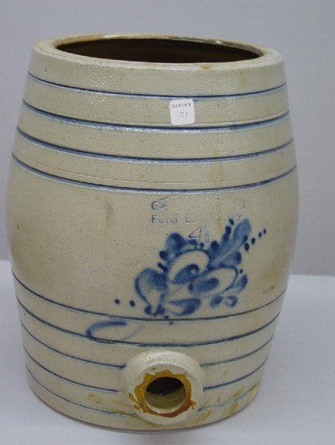 21: FOUR-GALLON STONEWARE CHURN WITH COBALT D