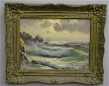 327 OIL ON CANVAS SEASCAPE Waves crashing a