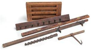 SIX WOOD AND IRON PIECES.