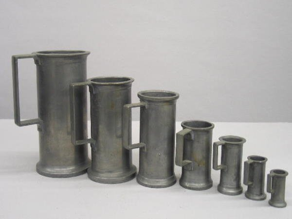 2: SEVEN GRADUATED PEWTER MEASURES. All are round with