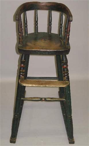 SMALL HIGHCHAIR. Old green paint with red and yello