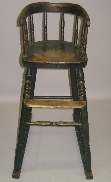 10: SMALL HIGHCHAIR. Old green paint with red and yello
