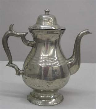 """PEWTER COFFEE POT. Marked """"No.1, J. Danforth"""" on th"""