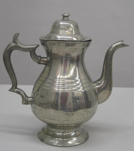 """11: PEWTER COFFEE POT. Marked """"No.1, J. Danforth"""" on th"""