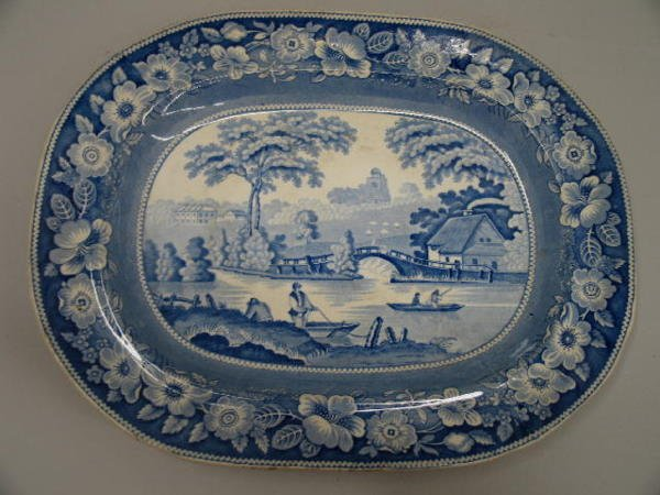 """14: BLUE AND WHITE STAFFORDSHIRE PLATTER. """"Wild Rose, R"""