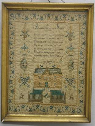 SAMPLER. Finely worked with tiny stitches in shades