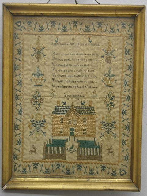 15: SAMPLER. Finely worked with tiny stitches in shades