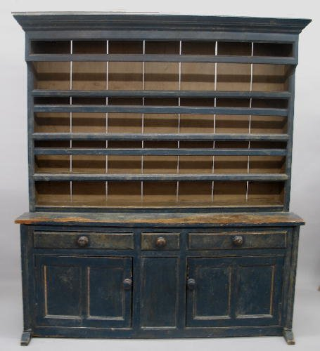 16: EARLY ONE-PIECE PEWTER CUPBOARD IN OLD BLUE PAINT.