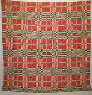 OVERSHOT COVERLET. Striking red and black on natura