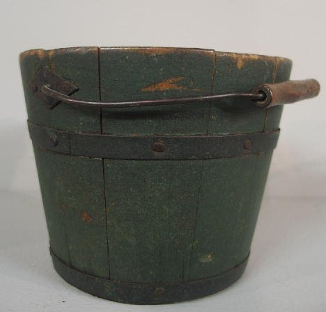 23: SMALL PAINTED BUCKET. Possibly Shaker. Stave constr