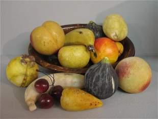 FOURTEEN PIECES: Thirteen pieces of stone fruit in
