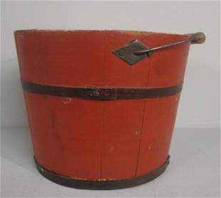 SMALL PAINTED BUCKET. Possibly Shaker. Stave constr