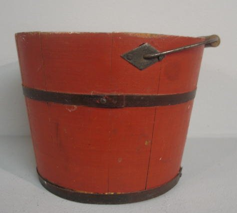 25: SMALL PAINTED BUCKET. Possibly Shaker. Stave constr