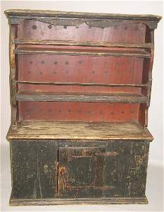 126: UNUSUAL CHILD'S SIZE PEWTER CUPBOARD. Pine with ol