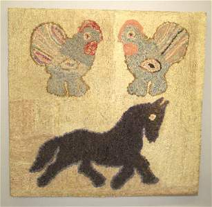 166: FOLK ART HOOKED RUG. Two roosters at the top are m