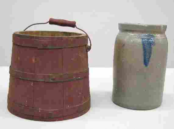 295: TWO PIECES: Stoneware canning jar with daubed coba