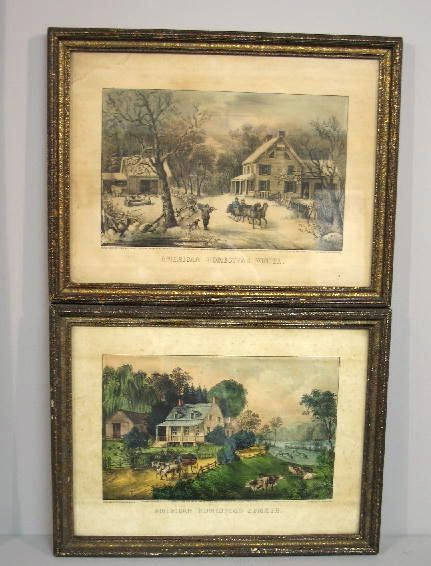 """297: TWO HANDCOLORED LITHOGRAPHS BY """"CURRIER & IVES"""". T"""