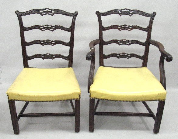 427: SET OF EIGHT CHIPPENDALE STYLE RIBBON BACK CHAIRS.