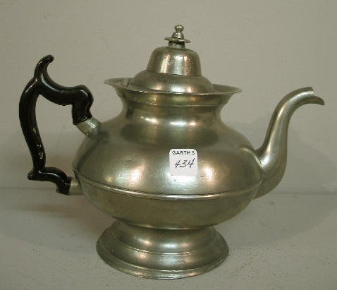 "434: PEWTER TEAPOT. Early eagle touch for ""R. Gleason"""