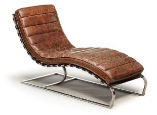 MID CENTURY MODERN LEATHER CHAISE LOUNGE.