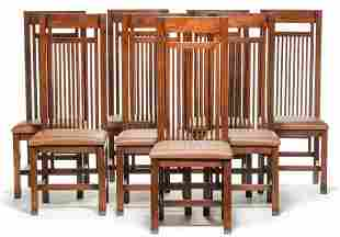 EIGHT FRANK LLOYD WRIGHT STYLE DINING CHAIRS.
