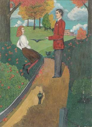 PAINTING OF COUPLE IN A PARK.