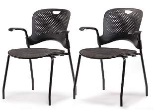 PAIR OF HERMAN MILLER CAPER OFFICE CHAIRS.