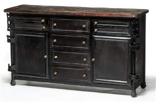 INDUSTRIAL STYLE CREDENZA CABINET.