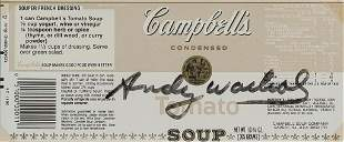 CAMPBELL'S SOUP LABEL SIGNED BY ANDY WARHOL.