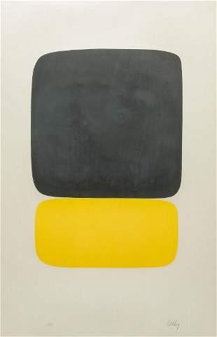 BLACK OVER YELLOW PRINT BY ELLSWORTH KELLY.