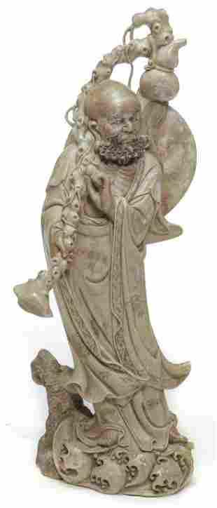 CHINESE CARVED STONE GOD OF LONGEVITY.